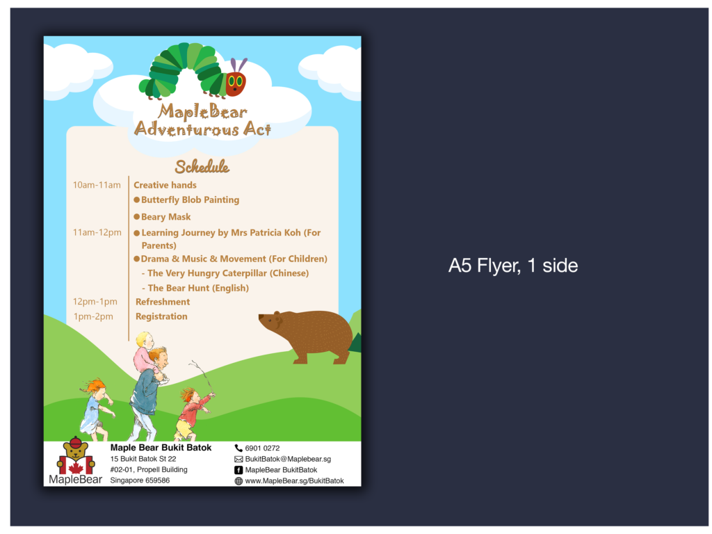 A5 flyer for Maple Bear (Childcare Center)