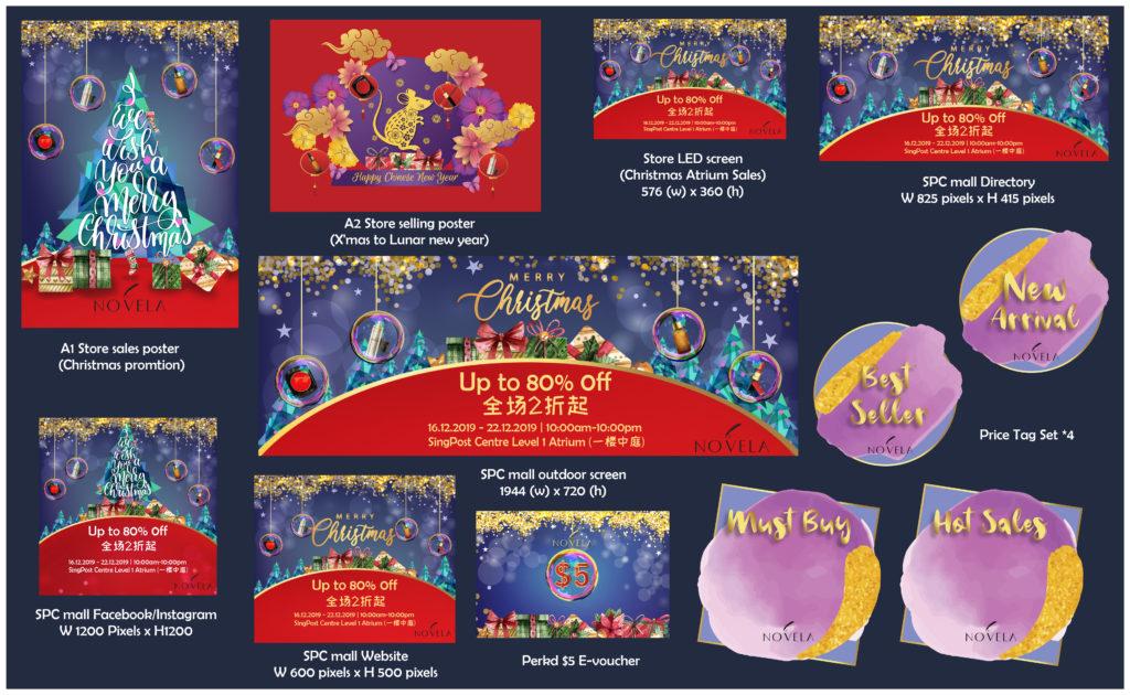 "Offline&Online Graphic Design for Novela's ""2019 Christmas"" Campaign"
